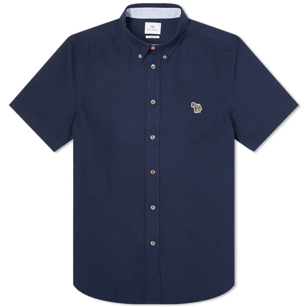 PS Paul Smith Short Sleeve Zebra Logo Tailored Fit Shirt Blue