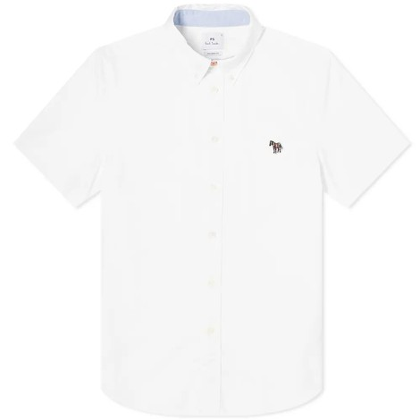 PS Paul Smith Short Sleeve Zebra Logo Tailored Fit Shirt in White