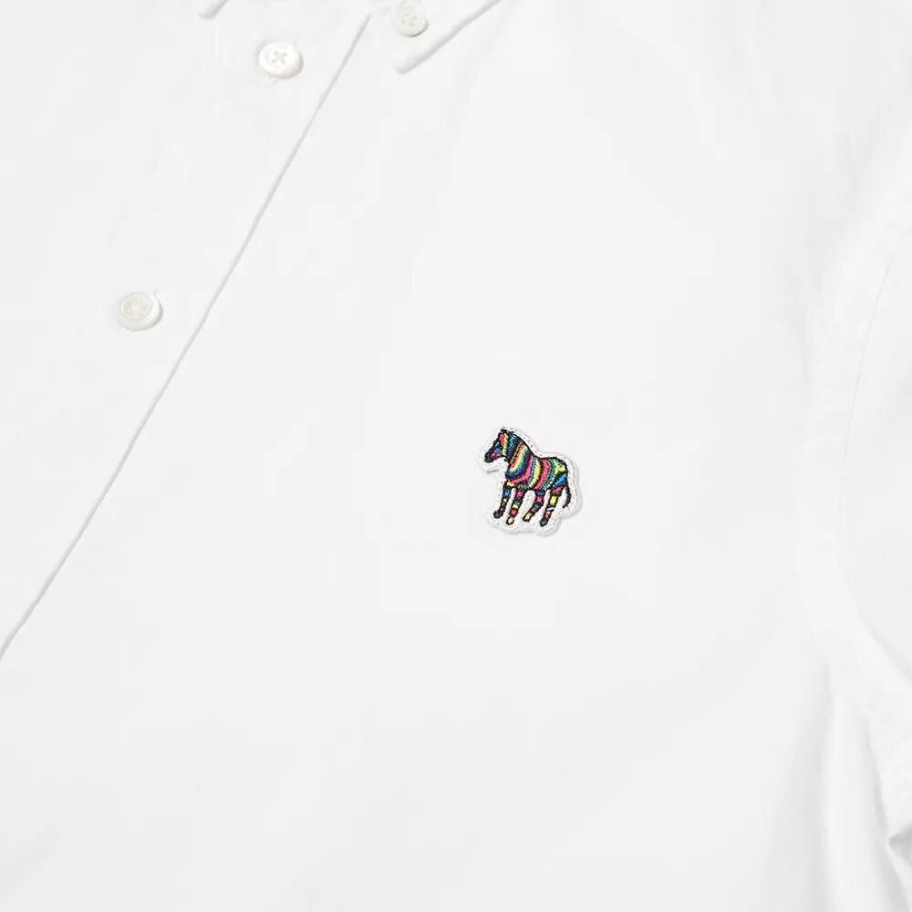 PS Paul Smith Short Sleeve Zebra Logo Tailored Fit Shirt White