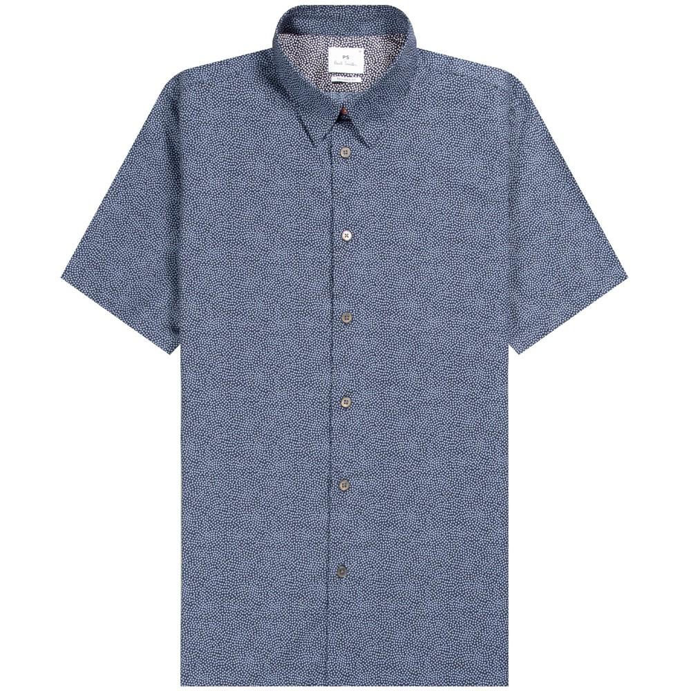 PS Paul Smith Short Sleeve Polka Dot Tailored Fit Shirt Dark Navy