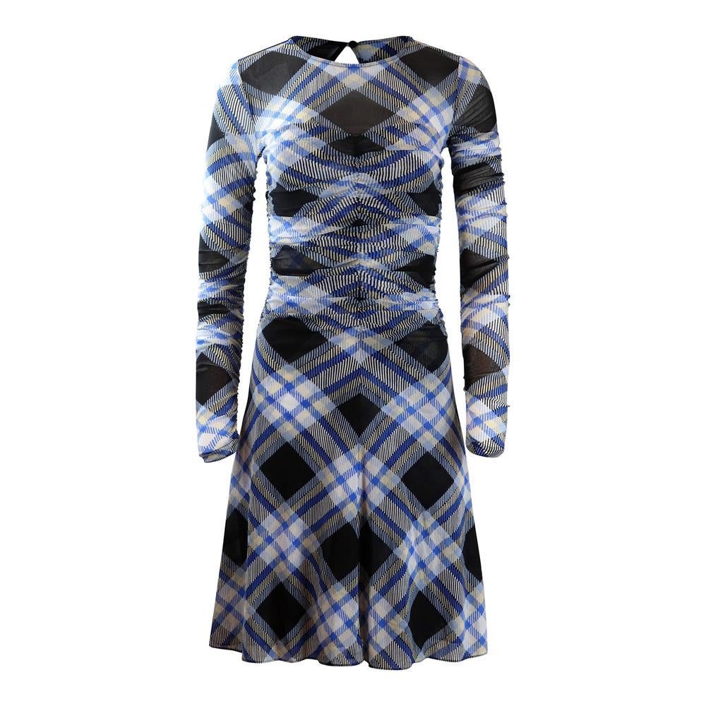 DVF Black Check Longsleeve Dress Multi
