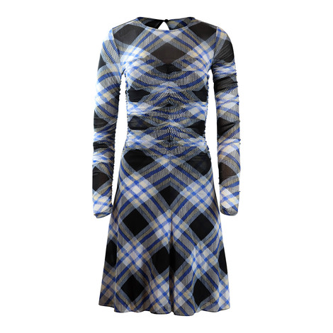 DVF Black Check Longsleeve Dress