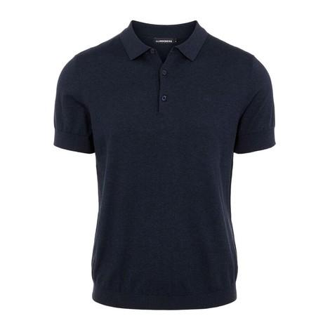 J Lindeberg Ridge Cotton Silk Polo Shirt in Navy