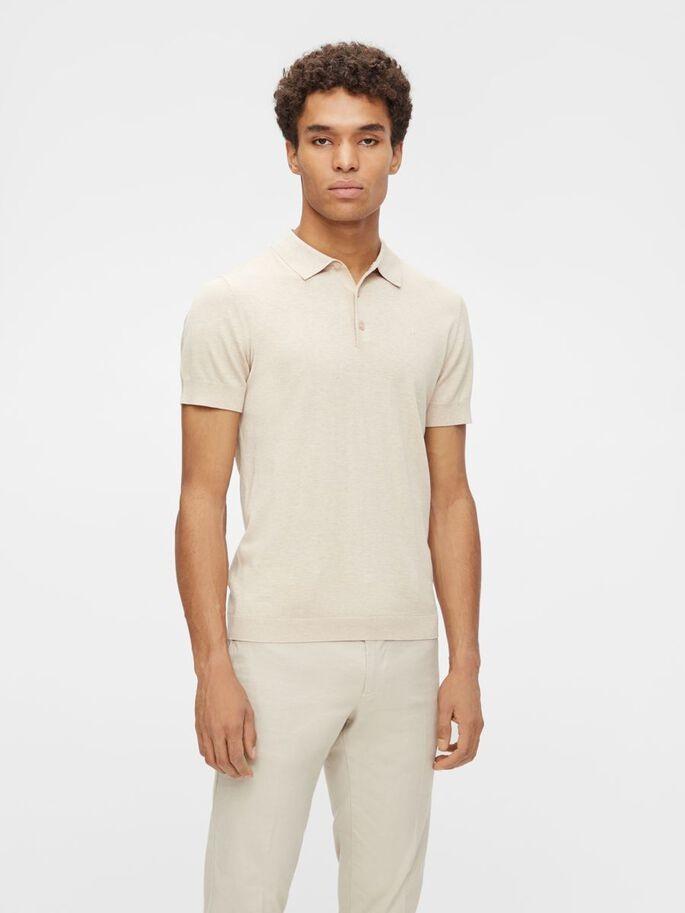 J Lindeberg Ridge Cotton Silk Polo Shirt Sand Grey