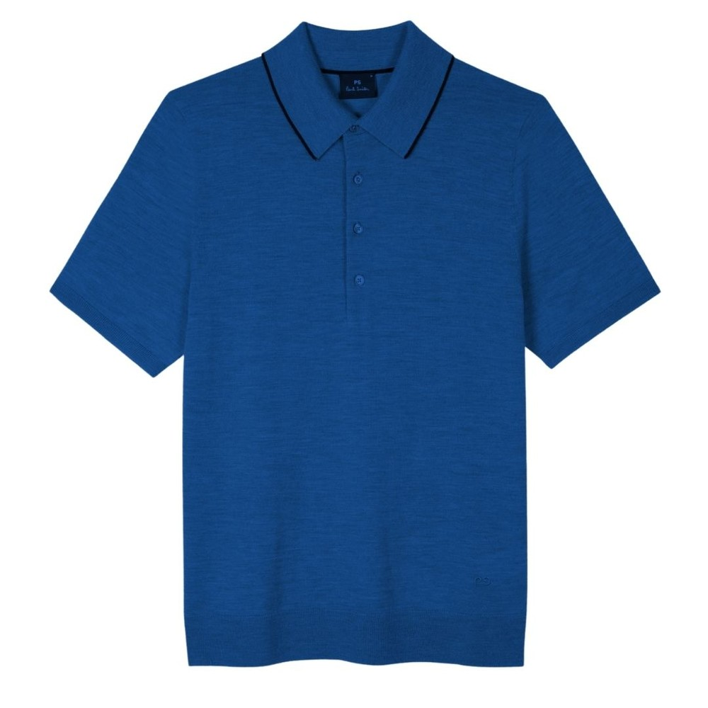 PS Paul Smith Marl Merino Wool Polo Shirt Blue