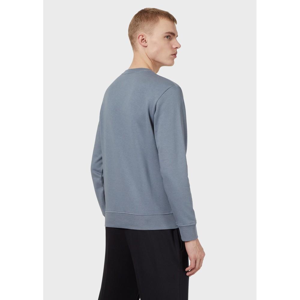 Emporio Armani Crew Neck Dashed Eagle Print Sweatshirt Grey