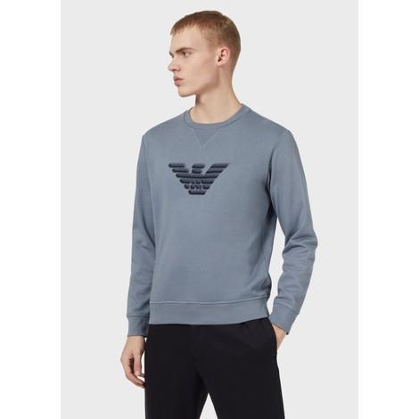 Emporio Armani Crew Neck Dashed Eagle Print Sweatshirt