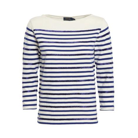 Ralph Lauren Womenswear 3/4 Sleeve Striped Beach Knit