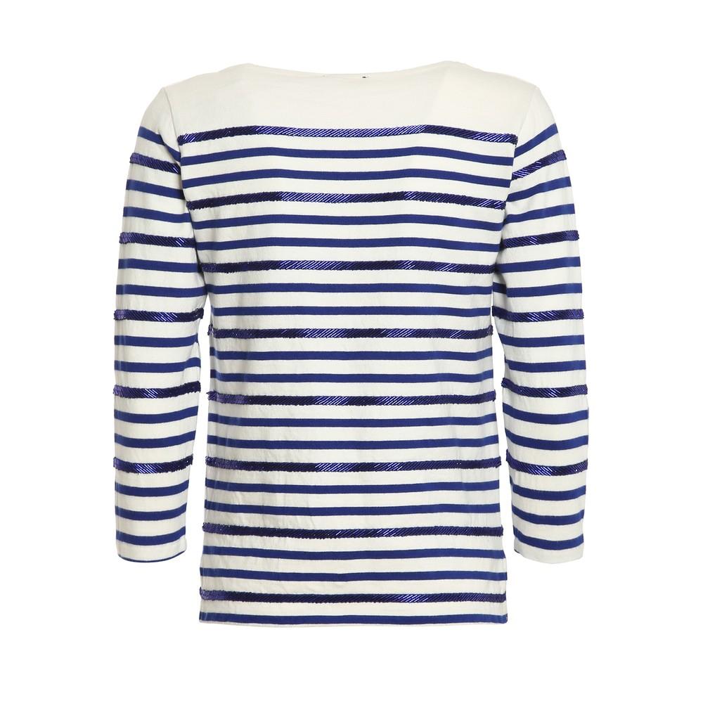 Ralph Lauren Womenswear 3/4 Sleeve Striped Beach Knit White