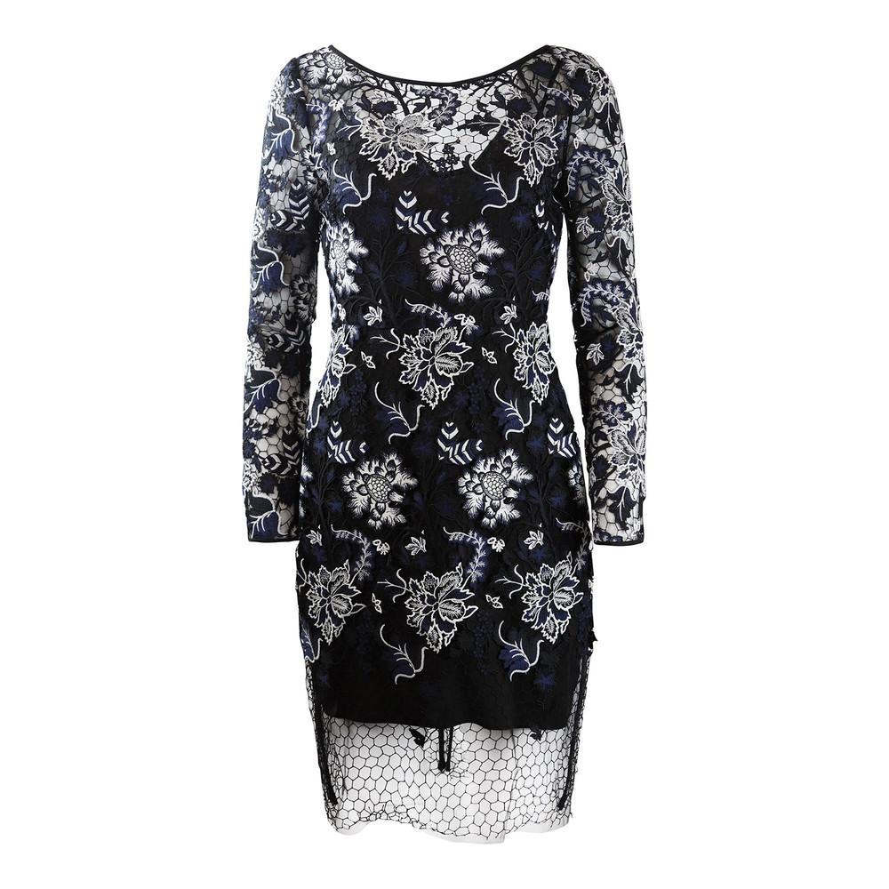 DVF Black and White Short Zarita Lace Dress Black