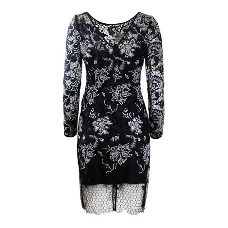 DVF Black and White Short Zarita Lace Dress