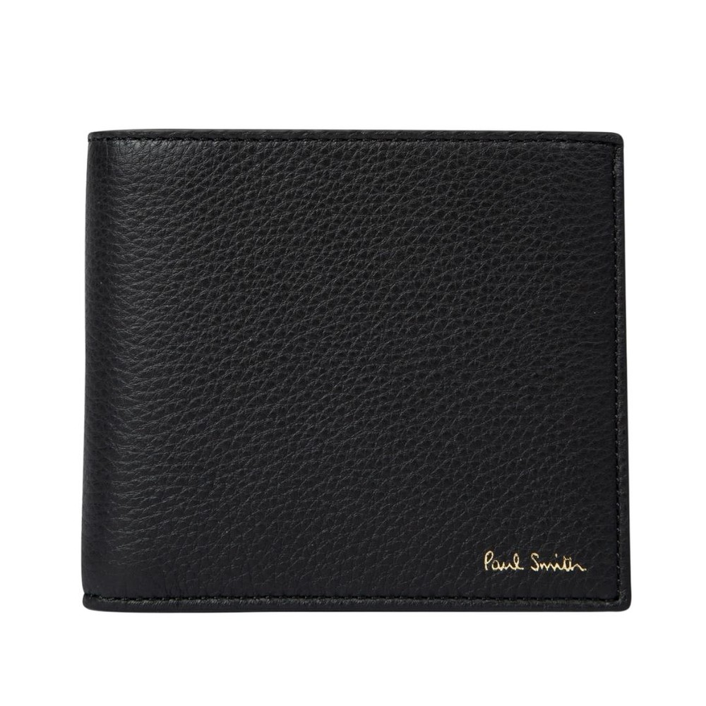 Paul Smith Leather Billfold Wallet With 'Signature Stripe' Interior Black