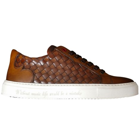 Jeffery West Apolo Woven Leather Trainers  in Brown