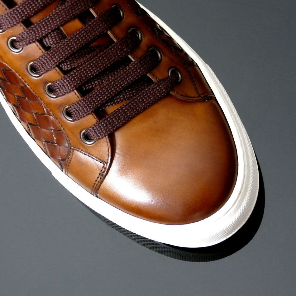 Jeffery West Apolo Woven Leather Trainers Brown
