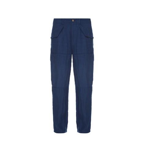 Ralph Lauren Womenswear Straight Leg Cargo Linen Trousers