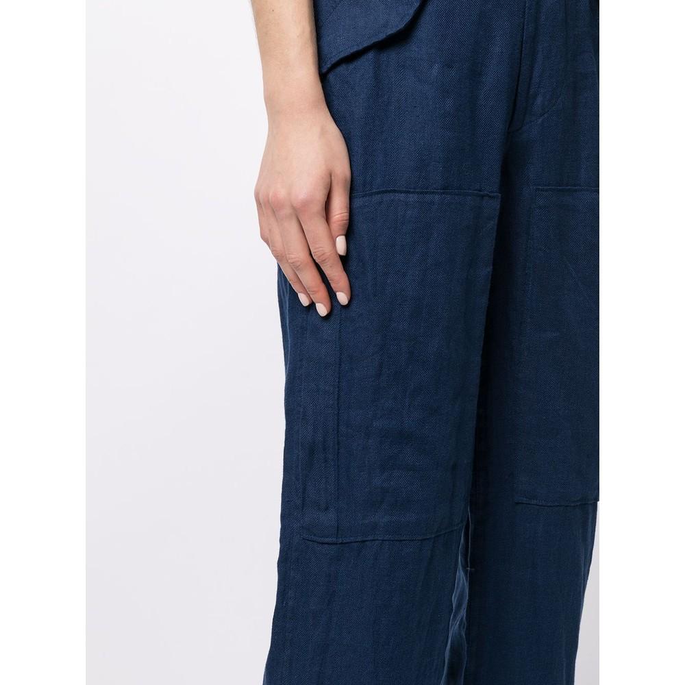 Ralph Lauren Womenswear Straight Leg Cargo Linen Trousers Navy