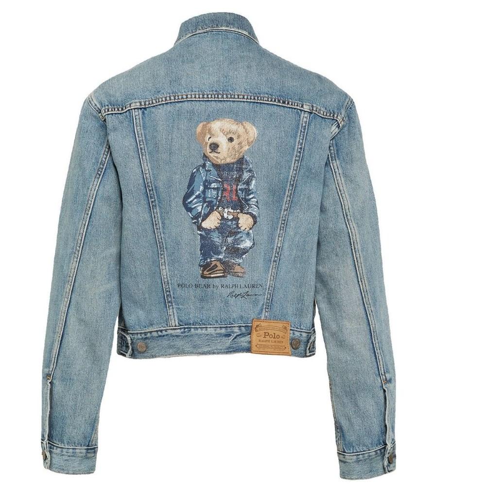 Ralph Lauren Womenswear Denim Bear Trucker Jacket Blue