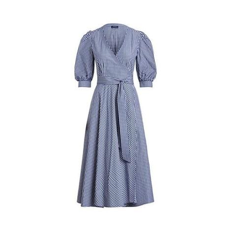 Ralph Lauren Womenswear Gingham Cotton Wrap Dress