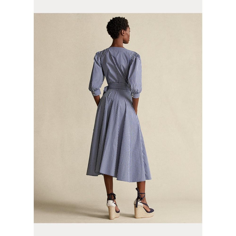 Ralph Lauren Womenswear Gingham Cotton Wrap Dress Blue and White