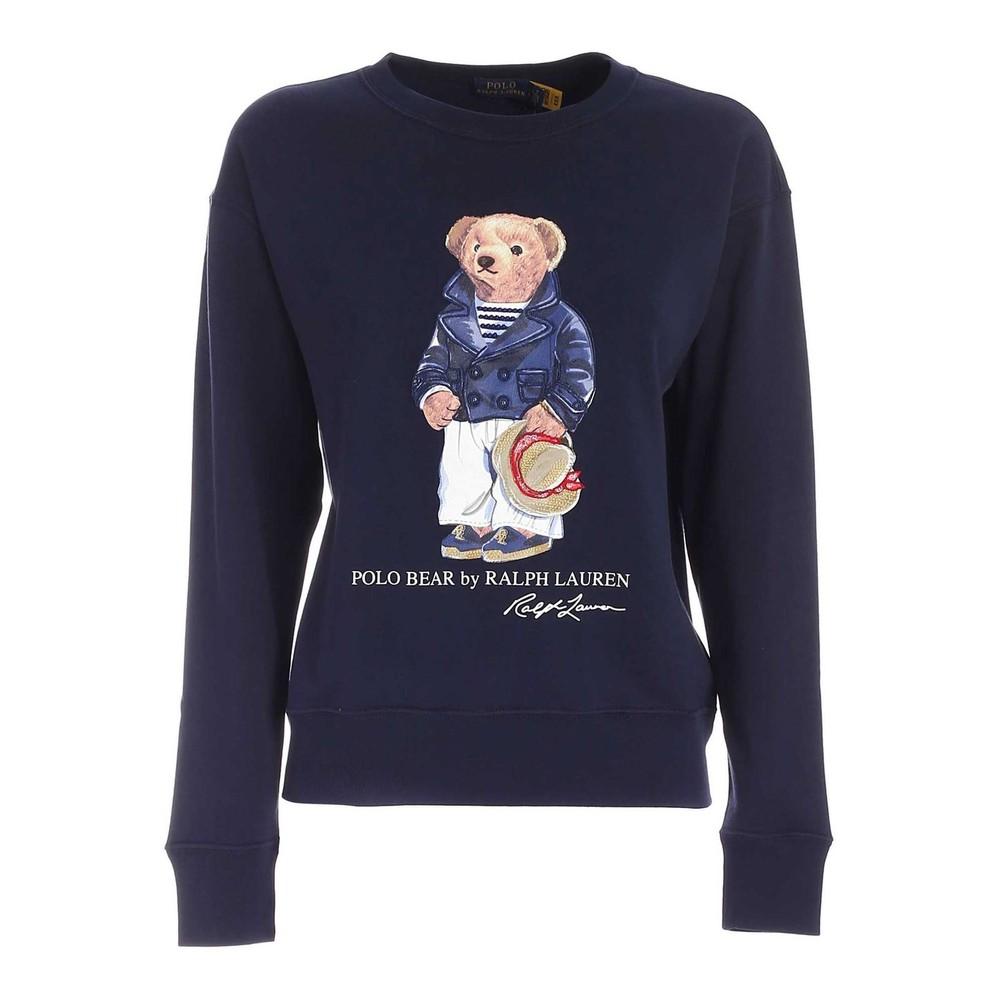 Ralph Lauren Womenswear Teddy Bear Print Sweatshirt Navy