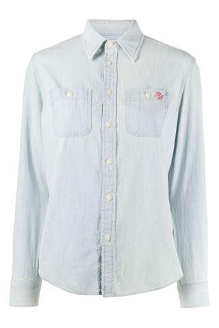 Ralph Lauren Womenswear Long Sleeve Bear Shirt Blue
