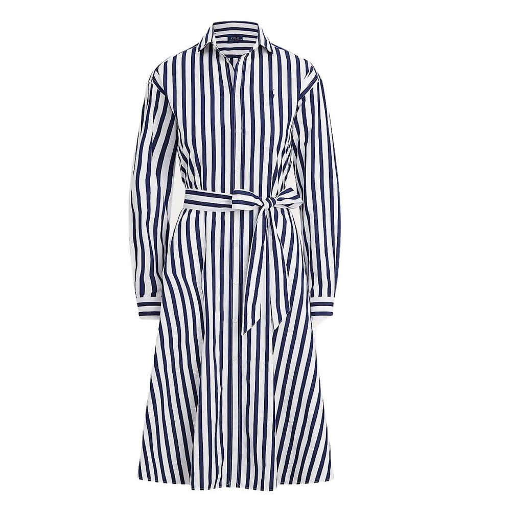 Ralph Lauren Womenswear Ela Striped Long Sleeve Dress Navy and White