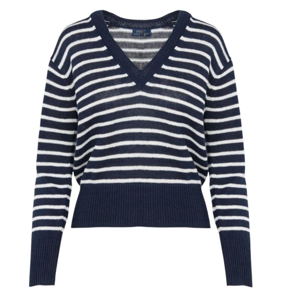 Ralph Lauren Womenswear V Neck Striped Long Sleeve Jumper Navy