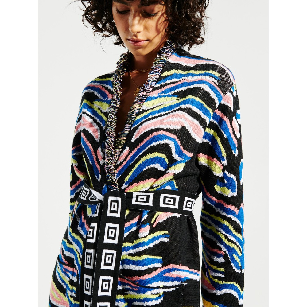 Hayley Menzies Shimmering Tiger Cardigan Black