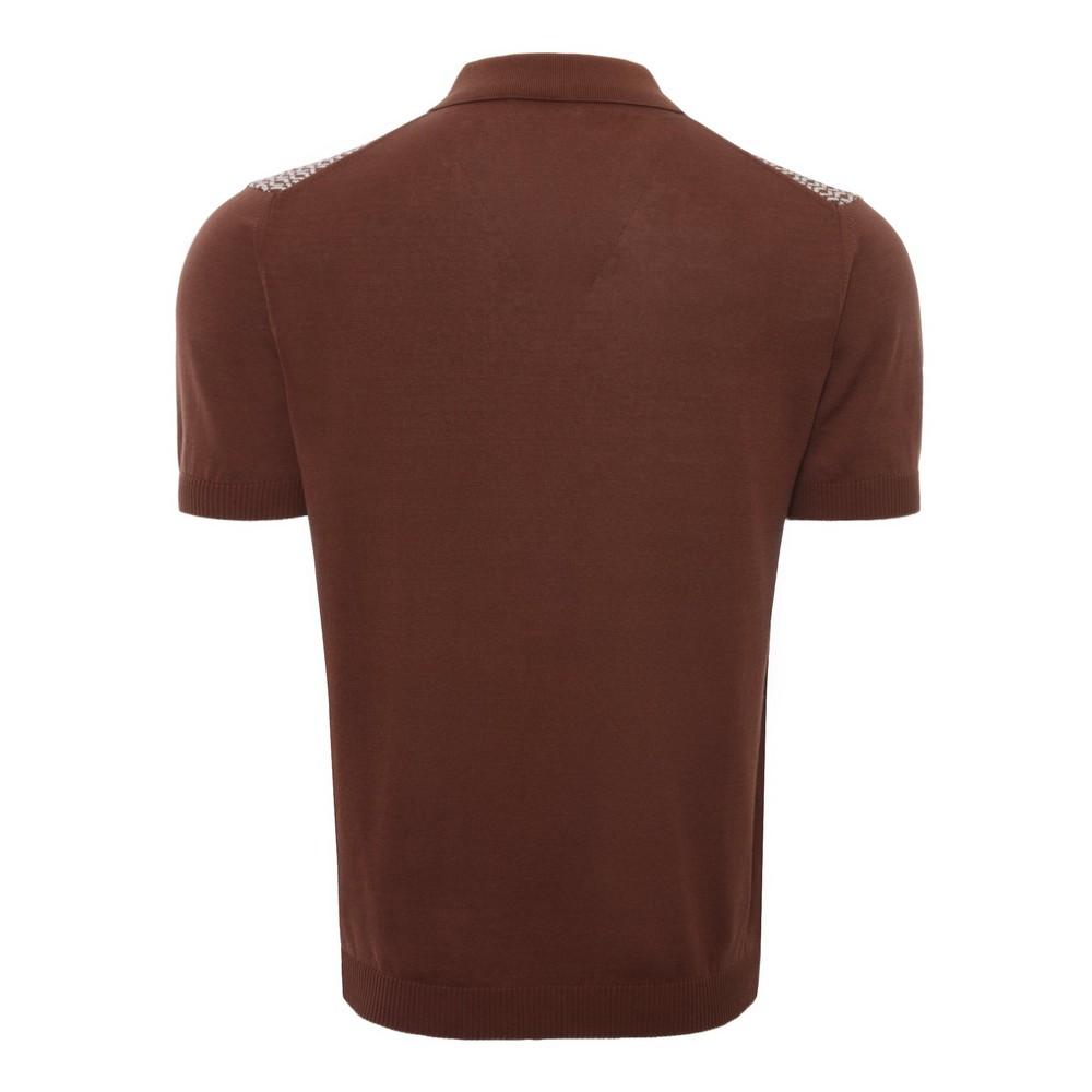 Circolo Jacquard Rombi Mer Polo Shirt Brown