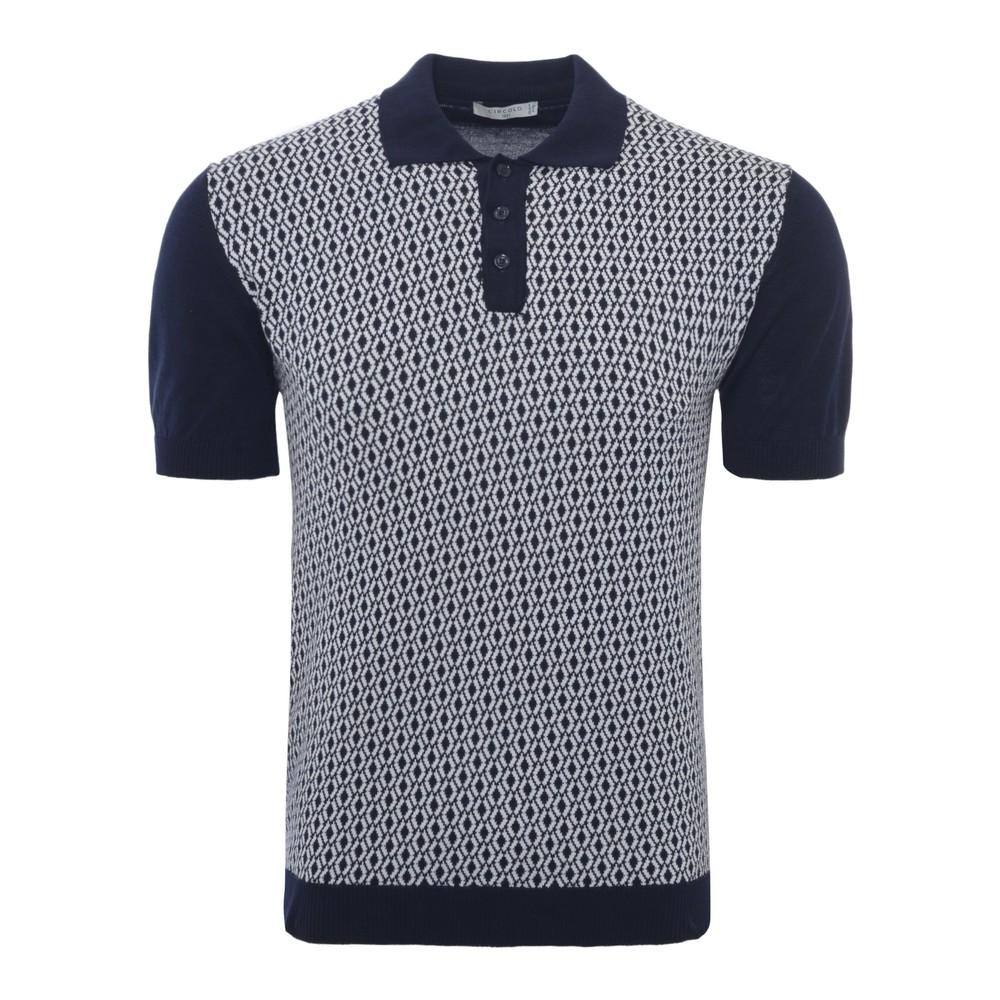 Circolo Jacquard Rombi Mer Polo Shirt Blue