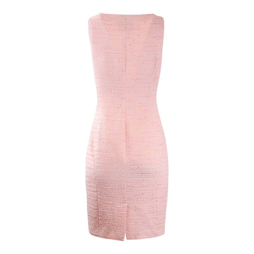 Moschino Boutique Pink tweed Dress with Front Bow Detail Pink