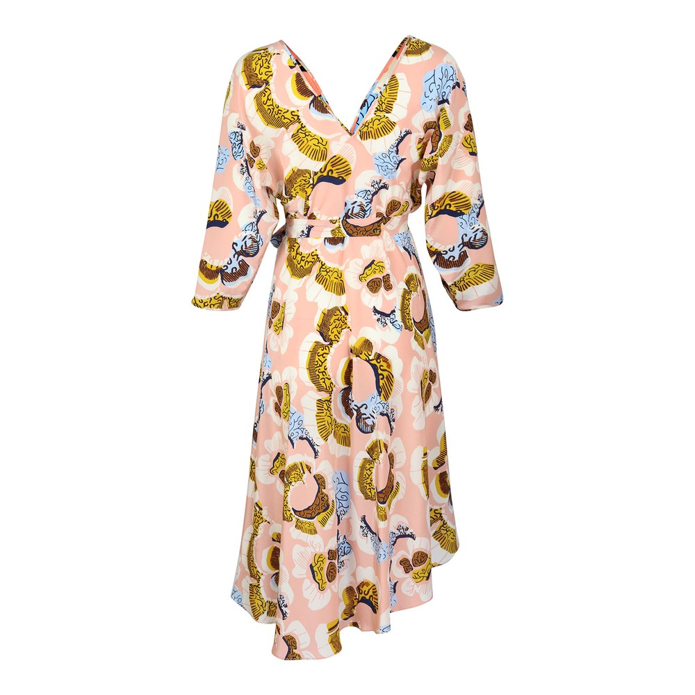 DVF Eloise Midi Floral Dress Nude