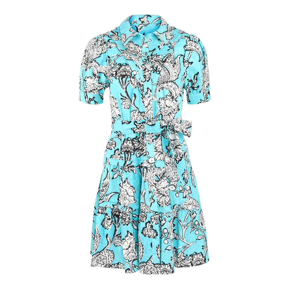 DVF Amber Mini Shirt Dress Turquoise