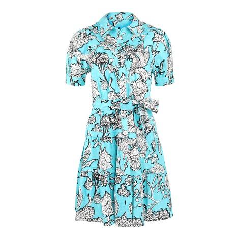 DVF DVF Amber Mini Shirt Dress in Turquoise