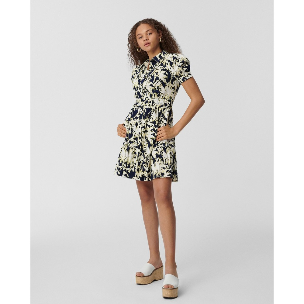 DVF Amber Mini Shirt Dress Navy and White