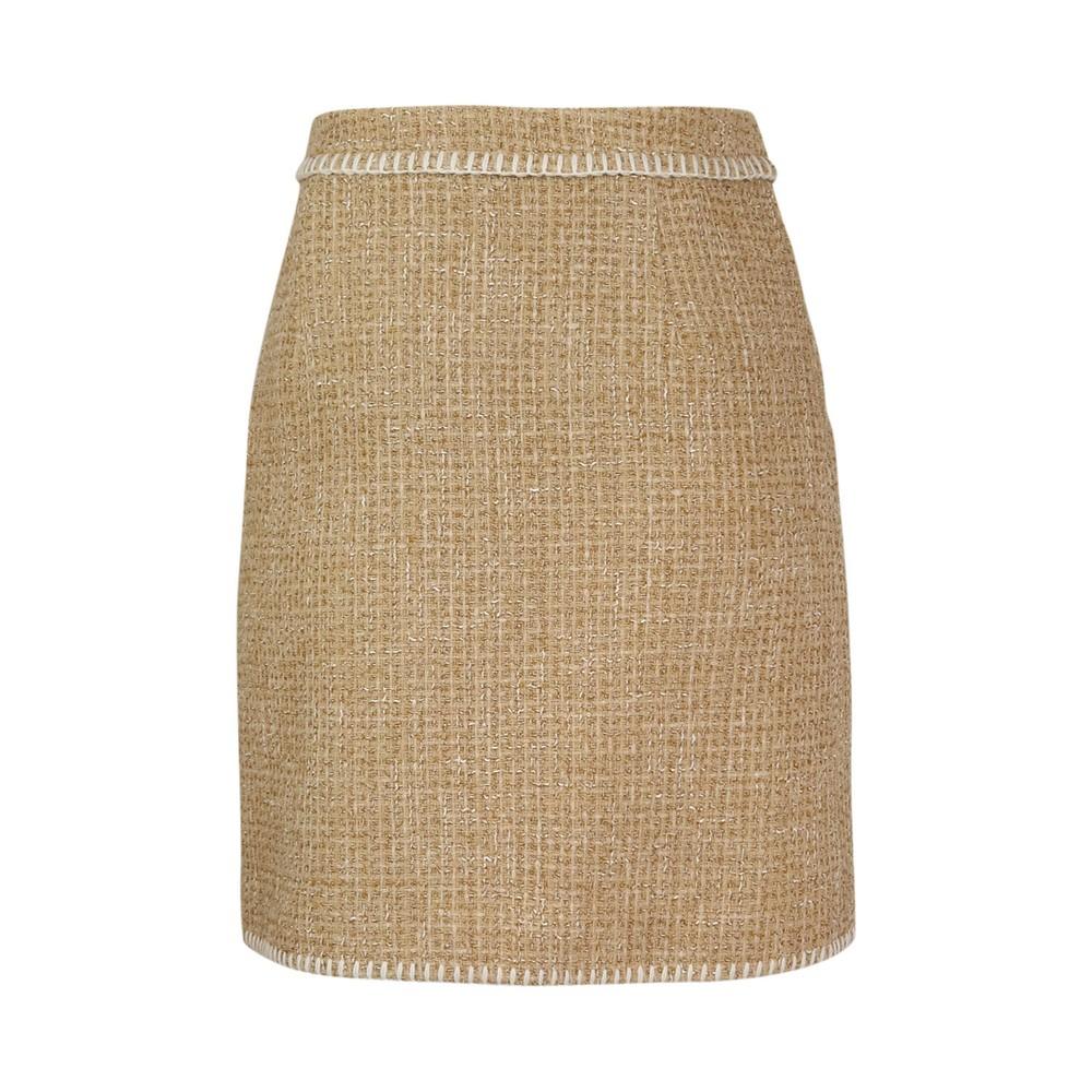 Moschino Boutique Tweed Skirt Beige