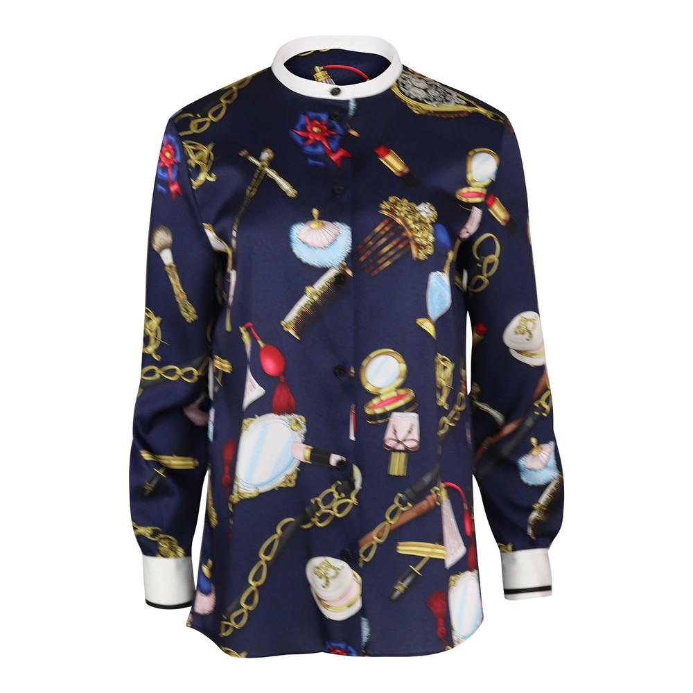 Moschino Boutique Objet Print Lightweight Twill Shirt Blue