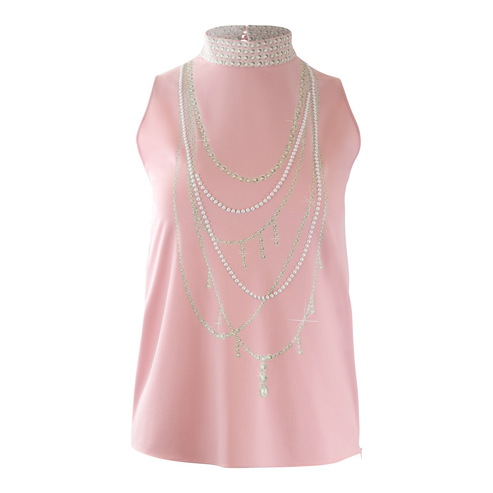 Moschino Boutique Sleeveless Pink Top with Pearl Pattern Pink