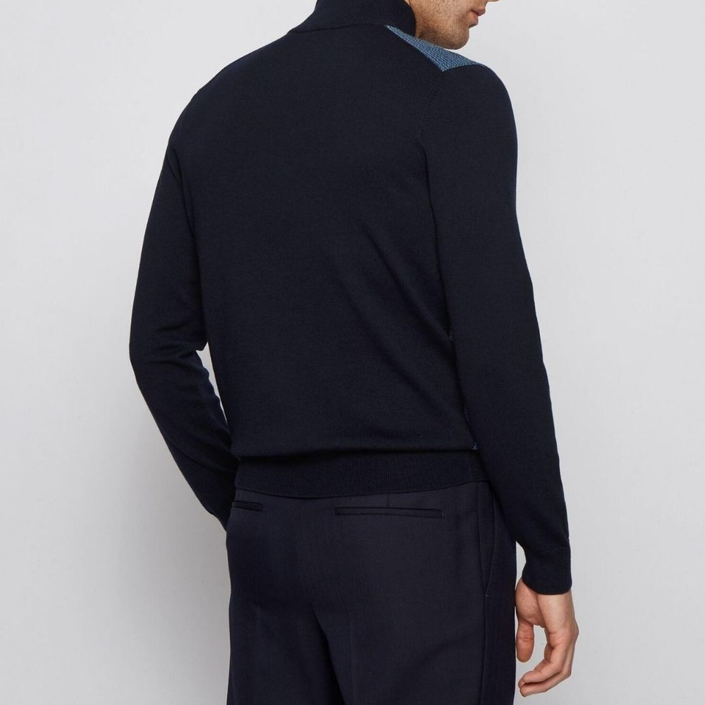 Hugo Boss Ponzio Zip Knit Jumper Open Blue