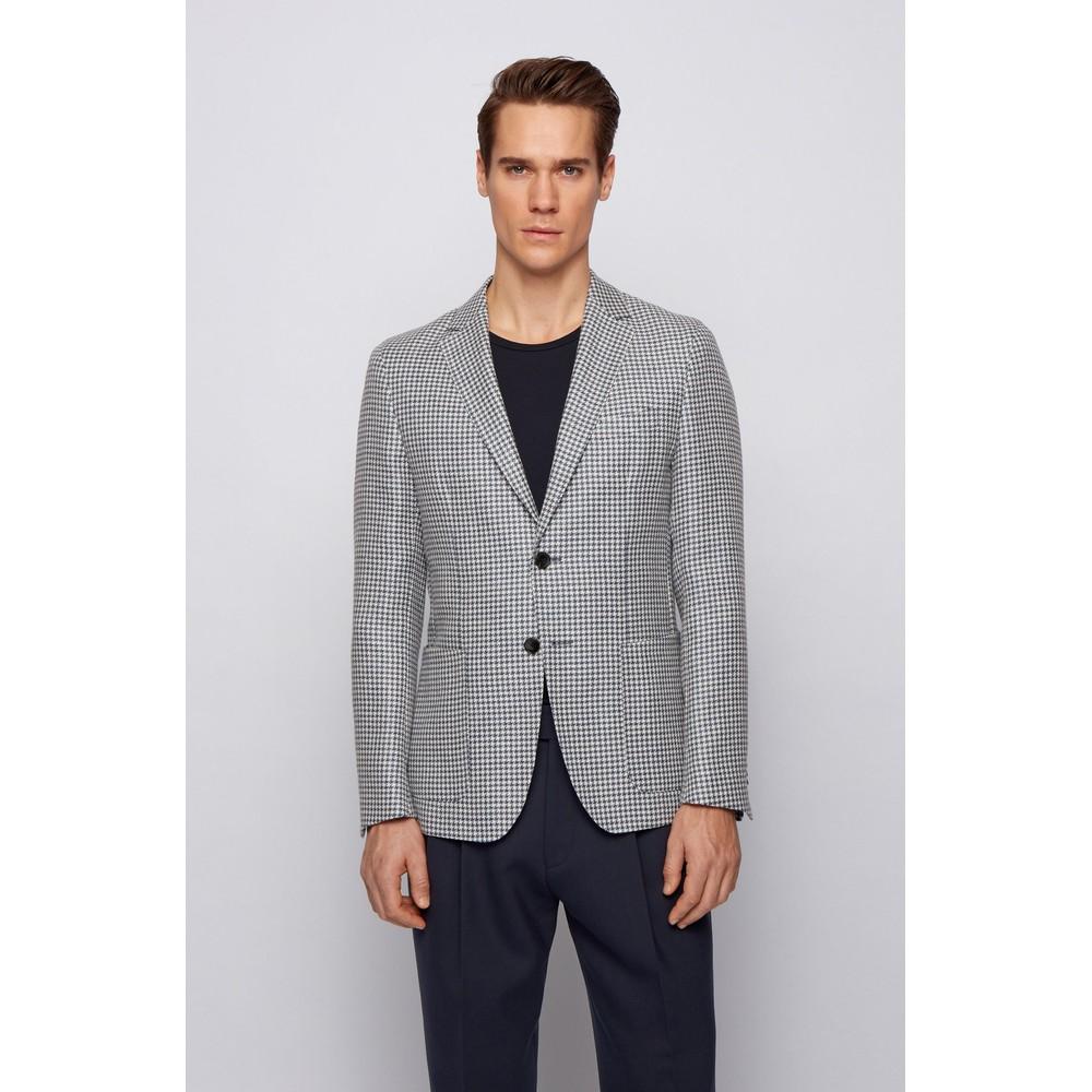 Hugo Boss Nolvay1 Houndstooth Jacket Open Blue