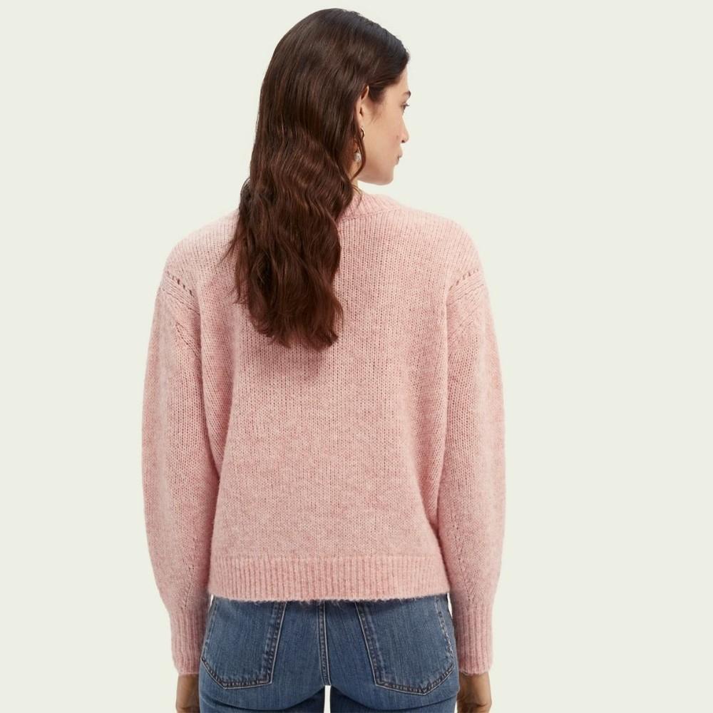 Scotch & Soda V-Neck Wool-Blend Jumper Pink