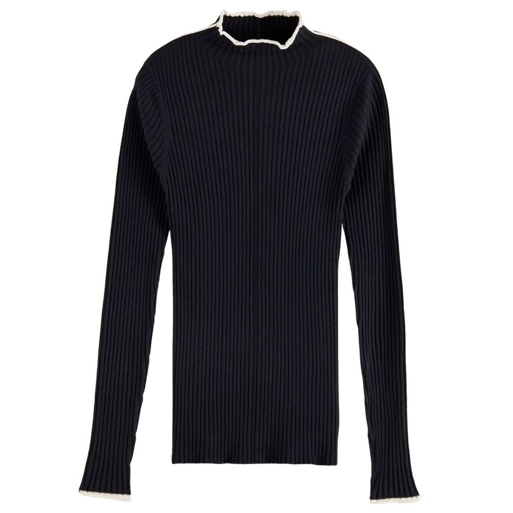 Scotch & Soda Contrasting Piping Knitted Sweatshirt Navy
