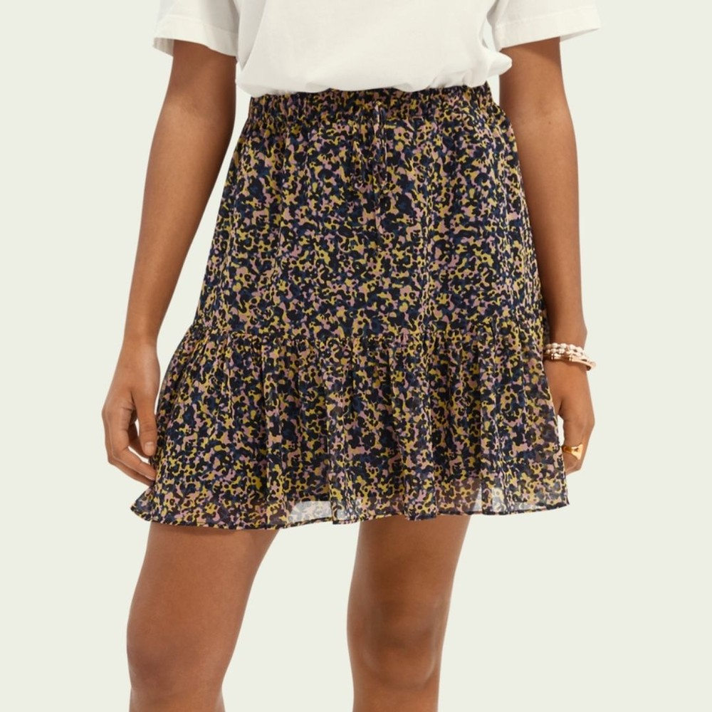 Scotch & Soda Printed Recycled Polyester-Blend Skirt Multicoloured