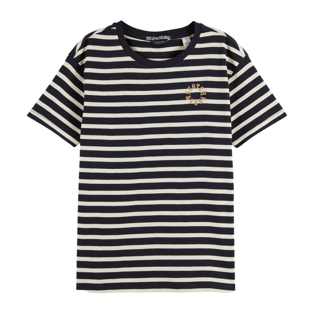 Scotch & Soda Striped Cotton T-shirt Navy and Cream