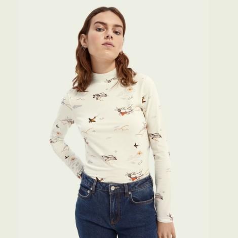 Scotch & Soda Printed Long-Sleeved Organic Cotton T-shirt