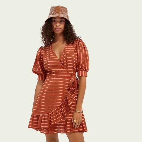 Scotch & Soda Striped Wrap Dress