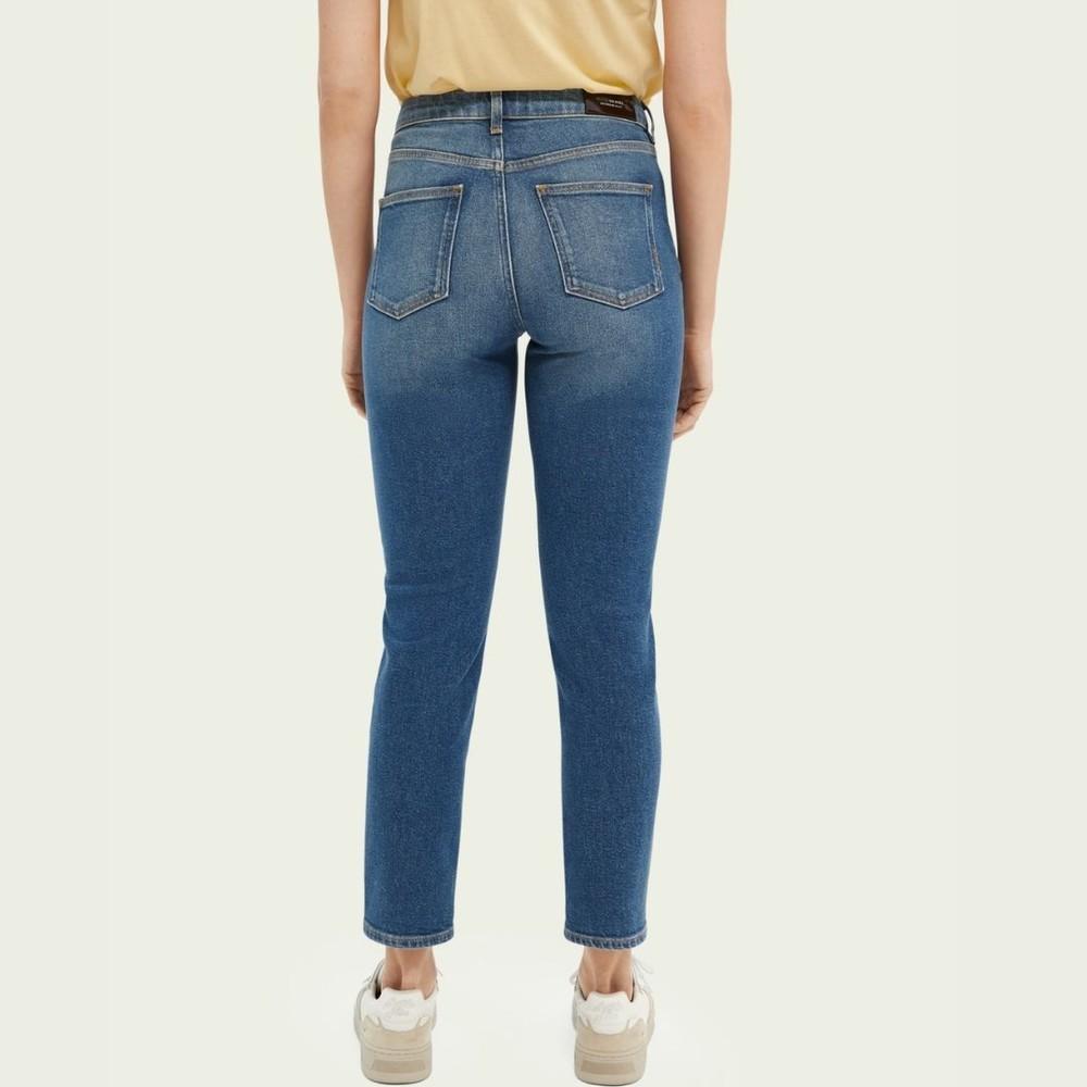 Scotch & Soda High Five High-Rise Slim-Leg Jeans Blue