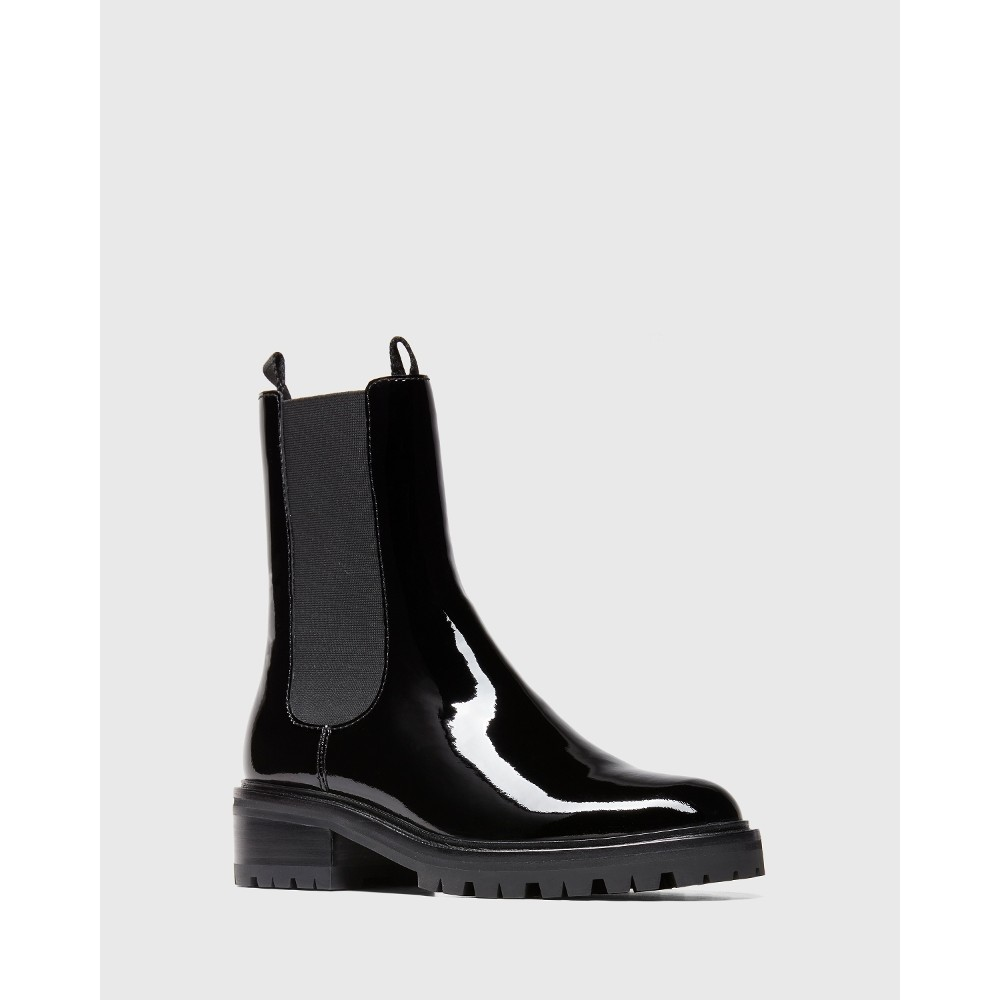 Paige Briana Patent Ankle Boot Black