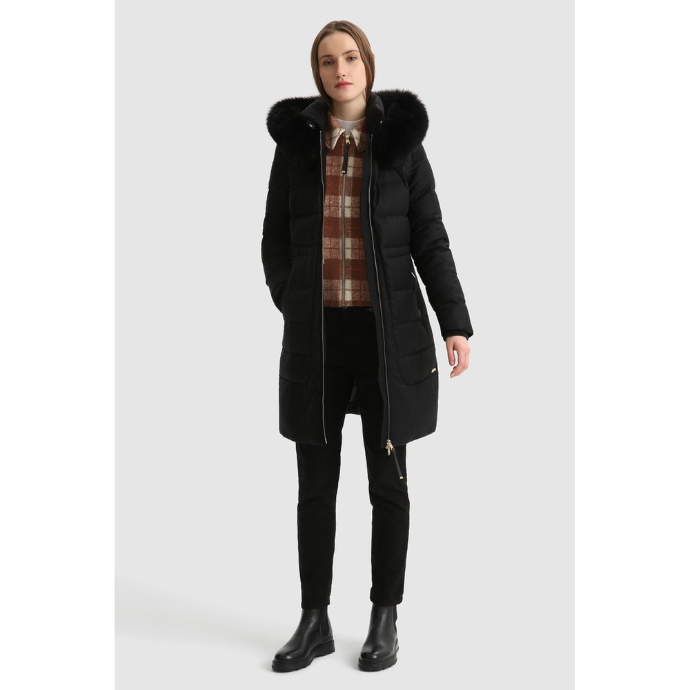 Woolrich Womenswear Long Parka In Wool, Silk & Fur Black