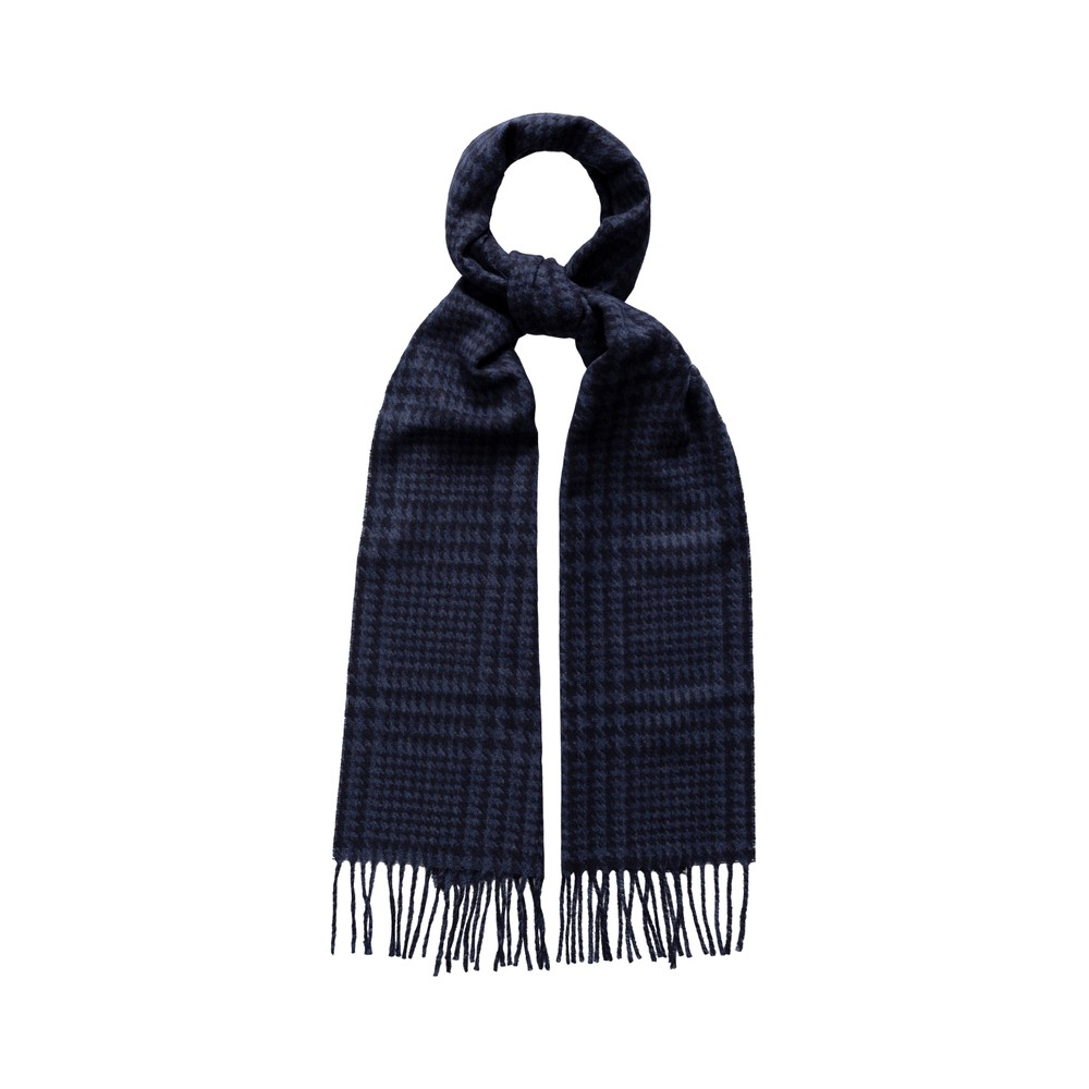 Eton Prince Of Wales Check Wool Scarf Navy